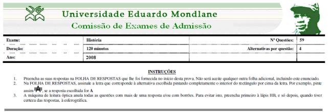 Exame de admissão de História - 2013 Pagina 0 de 5